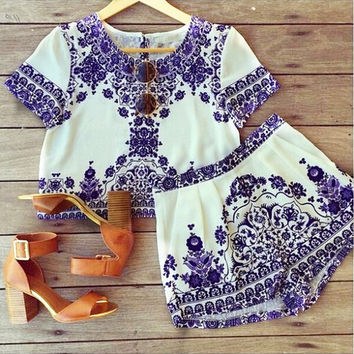 Women Summer Dress Vintage Style New Fashion 2015 Short Sleeve Blue and White Dress 2 Piece Set Crop Top And Shorts Overalls