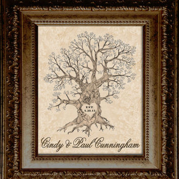 16x20 ThumbPrint Oak // Signature Wedding Tree // Guest Book Alternative // Wedding Gift