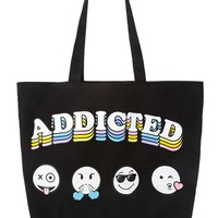 Addicted Emoji Graphic Eco Tote - Womens accessories, jewellery and bags | shop online | Forever 21 - 1000230228 - Forever 21 EU English