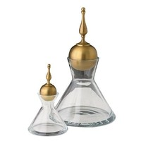 Global Views Finial  Decanters S/2 | Brass