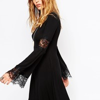 Rokoko Bell Sleeve Dress With Lace Detail