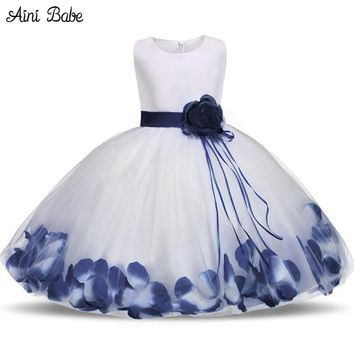 Toddler Girl Baptism Dress Christmas Costume Petals Baby Girl Dress 1 Year Birthday Gift Kids Party Wear Tulle Dresses For Girls