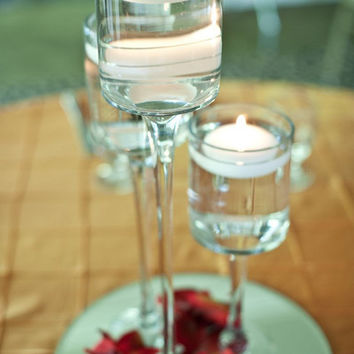 Tall Glass Cup Vase Tealight Candle Holder Table Centerpiece, 16-inch