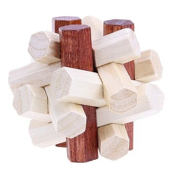Lock Traditional Toy 3D Wooden Puzzles Adult Kids Brain Teaser Intellectual Toys Gift