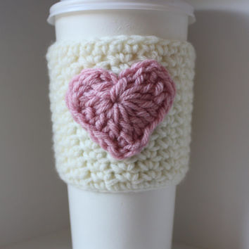 Crochet Coffee Cup Cozy / Sleeve - White with Pink Heart (Ready to Ship)