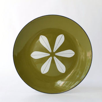 Vintage Cathrineholm Lotus Plate, Avocado Green Enamel 7.5""