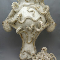 Giant Ceramic Octopus Vase / Urn by Shayne Greco Beautiful Shabby Chic Mediterranean Sculpture Pottery