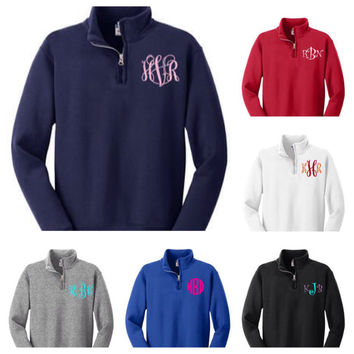 Children's Quarter zip sweatshirt pullover with monogram