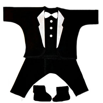 Baby Boys' All Black with White Lapels Tuxedo Suit