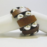 Wooden Stretchable Bracelet W\ Silver Tone Beads