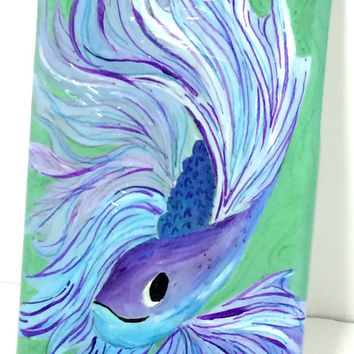 iPhone 6 Fish Case - Hand Painted iPhone Plastic Case - Acrylic Painted Happy Fish iPhone 6 Case - Artistic Painted iPhone Underwater Case