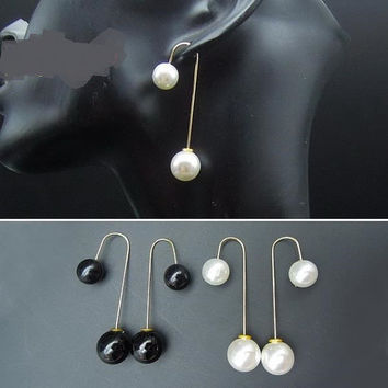 fashion beautiful earrings, elegant double faux pearl earrings, drop earrings for woman, Pearl Earrings