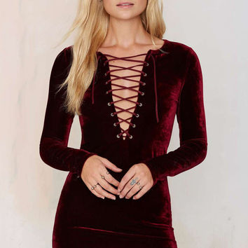 Deep V-Neck Cross Straps Velvet Long-Sleeved Package Hip Dress