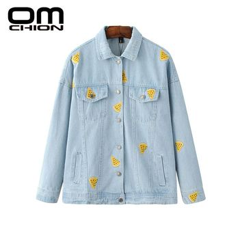 New Autumn Denim Jacket Floral Printed Turn-down Collar Women Jacket Loose Fashion Embroidery Outwear