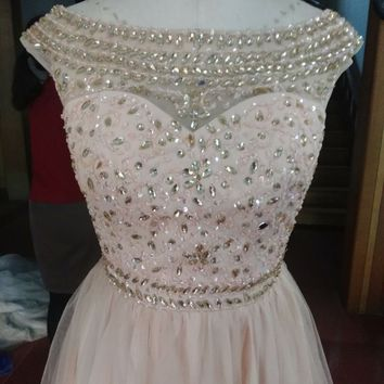 Lovely Short Cap Sleeve Homecoming Dresses 2017 New Beads Crystal Girls Prom Cocktail Party Gowns