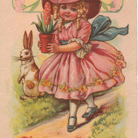 1916 Hoover Easter Postcard with Girl in Pink Dress with Flower and Rabbit
