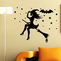 Halloween With on Broom Wall Sticker Home Decoration Decal Decor Window MR807