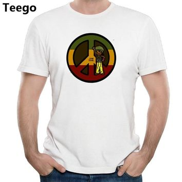 Love and Peace reggae man vintage men cotton brand t shirt modal cotton t bob marley male top tees