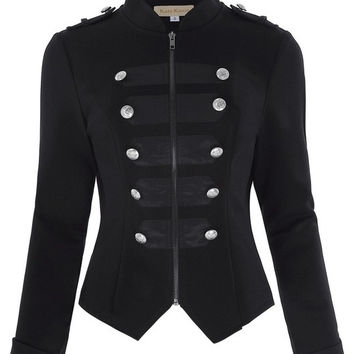 Victorian Gothic Buttons Decorated Zipper Front Military jacket Tops 2017 Tops Woman Black Long Sleeve Outerwear Coats