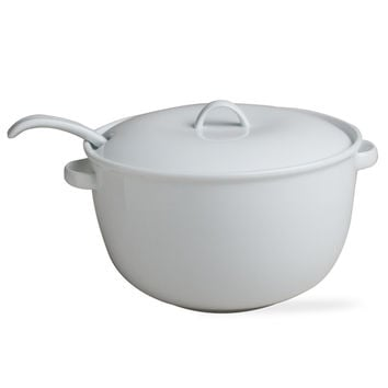 TAG 201513 White Soup Tureen with Ladle