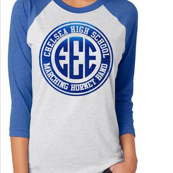 Chelsea High School Marching Hornet Band Monogram Raglan Shirt
