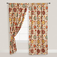 Gold and Red Suzani Cotton Curtain - World Market