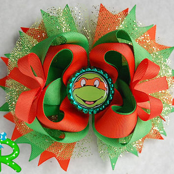 Ninja turtles layered Hair Bow, Michaelangelo boutique bow,TMNT Staked Hair Bow ,Orange Ninja