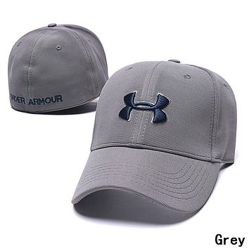 Under Armour Newest Women Men Embroidery Sports Sun Hat Baseball Cap Hat Grey