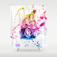 River Song Watercolor Mixed Media Digital Painting Shower Curtain by Purshue
