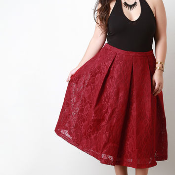 Floral Lace Pleated Midi Skirt