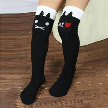 Toddlers Kids Girls Knee High Socks School Cotton Tights Striped Stockings for Girls 1-8Years SM6