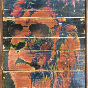 Lion with glasses- Hear me roar! Vintage Style 80's retro art