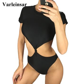 Sexy Black Trikini Cut Out Knotted One Piece Swimsuit Women Swimwear Female 2018 Bather High Neck Bathing Suit Swim Wear V975