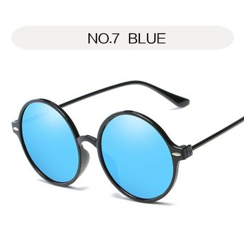 YOOSKE Fashion Round Sunglasses Women Vintage Metal Frame Men Sun glasses Female Retro Reflective Mirror Circle Glasses UV400