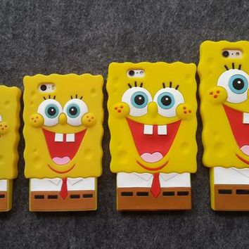 Soft Silicone Cover for iPhone 8 7 6 6s plus 5 5s SE 4 4s Cute 3D SpongeBob SquarePants Rubber Fundas Phone cases
