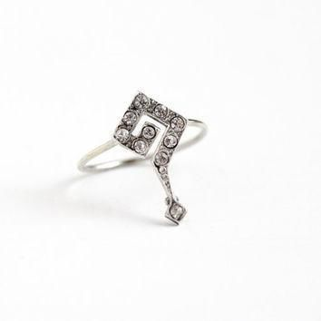 antique edwardian sterling silver question mark stick pin conversion ring vintage 19