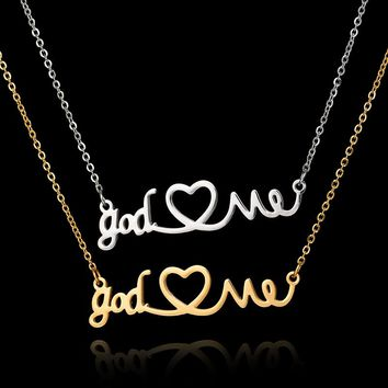 2017 New Arrival Stainless Steel Choker Necklace Jewelry God Love Me Heart Pendant Silver Chain Gold Necklace Gothic Chokers