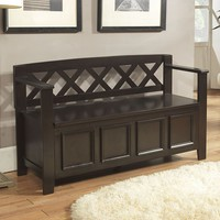 Simpli Home Amherst Entryway Storage Bench (Brown)