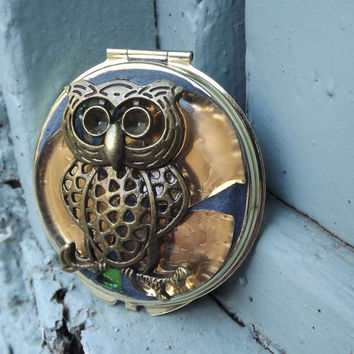 Mosaic Owl Make Up Compact Mirror