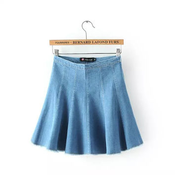 Denim High Waist Pleated Zipper Skirt