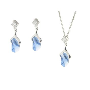 Sterling Silver Blue Ice Cubic Zirconia Earrings and Pendant Necklace Set