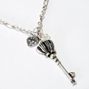 Antique Silver Plated Skeleton Key Crown With Heart Charm Chainmaille Necklace