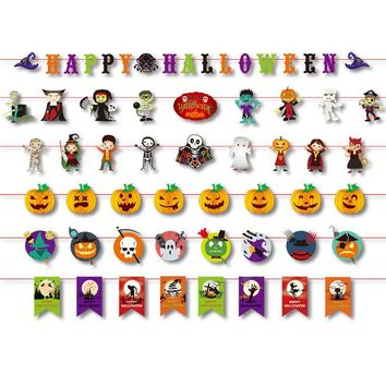 DIY Halloween flag banner paper hanging wreath pendant pumpkin ghost witch props family party KTV background decor supplies