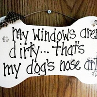 Dogs nose art sign, dog bone on wood