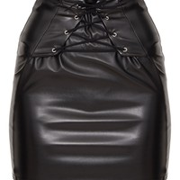 Black Lace Up Front Faux Leather Mini Skirt