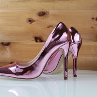 "Pink Metallic Pointy Toe Pump 4.5"" Stiletto High Heel Shoes"
