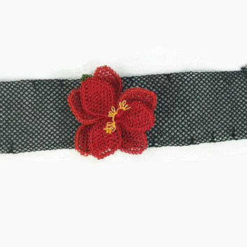 Crochet Necklace Black crochet choker Necklace with red rose, Turkish Needlework Jewelry, Black Oya Statement Necklace, gift ideas for her