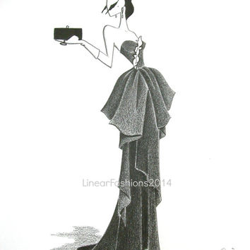 Beverly Hills / fashion illustration / old Hollywood / original drawing / pencil drawing / gift