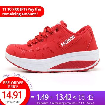 Weweya 2018 Female Sneakers On The Platform Women's Red Sport Shoes Slimming Swing Wedges Running Shoes Thick Bottom Trainers