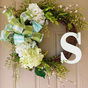 White & Green Hydrangea Grapevine Wreath. Year Round Wreath. Spring Wreath. Summer Wreath. Monogram Wreath. Door Wreath.